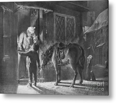 Horse Metal Print featuring the drawing Fetching The Doctor by Print Collector