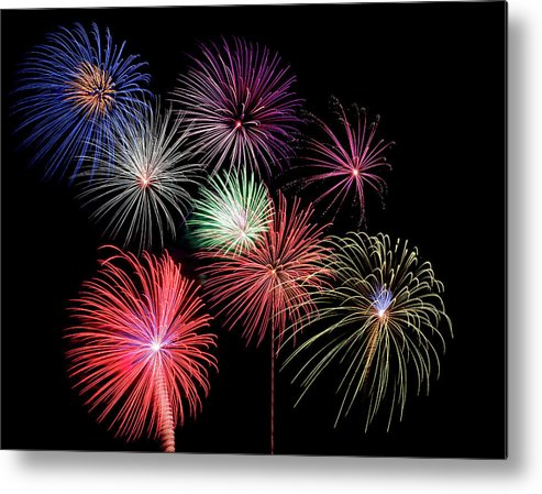 Firework Display Metal Print featuring the photograph Fireworks by Michael Parrish Photography