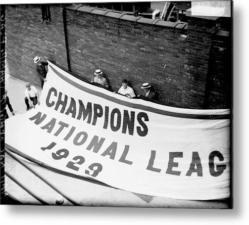 People Metal Print featuring the photograph Flag Commemorating The Chicago Cubs by Chicago History Museum