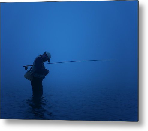 Young Men Metal Print featuring the photograph Fly Fisherman by Mike Kemp