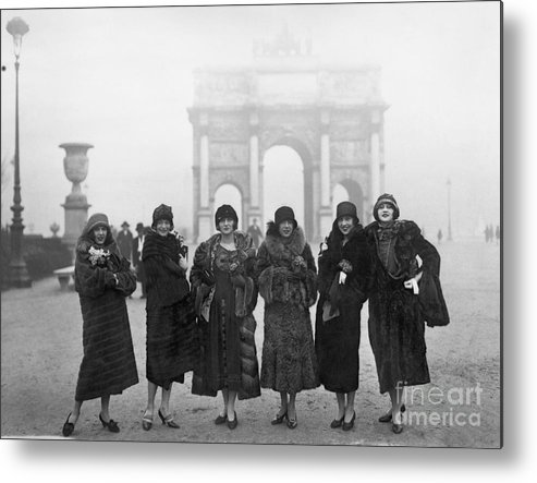 People Metal Print featuring the photograph Follies Beauties Score Hit In France by Bettmann