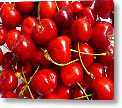 Cherry Metal Print featuring the photograph Fresh Red Cherries by Vienna Mornings