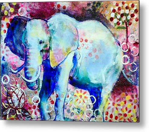 Elephant Metal Print featuring the painting Glory by Goddess Rockstar