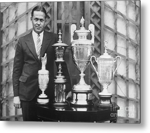 People Metal Print featuring the photograph Golfer Bobby Jones With Golf Trophies by Bettmann