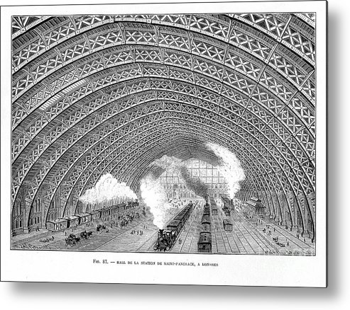 Civil Engineering Metal Print featuring the drawing Interior Of St Pancras Railway Station by Print Collector