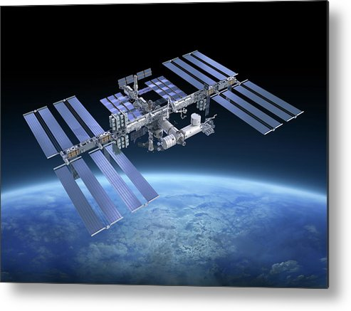 Solar Power Station Metal Print featuring the photograph International Space Station Iss by Scibak