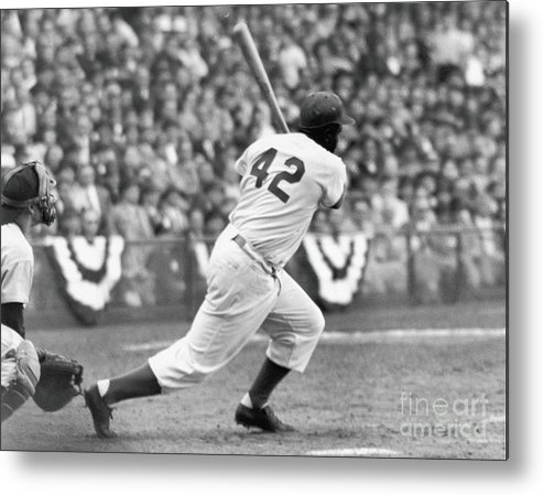 Sports Helmet Metal Print featuring the photograph Jackie Robinson At Bat by Robert Riger