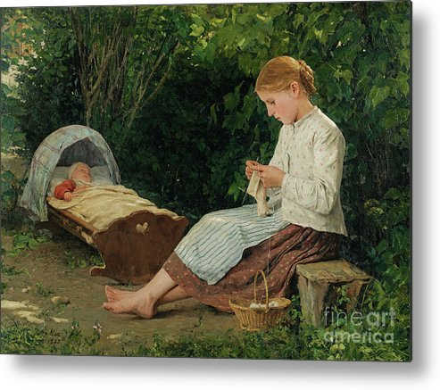 Toddler Metal Print featuring the drawing Knitting Girl Watching The Toddler by Heritage Images