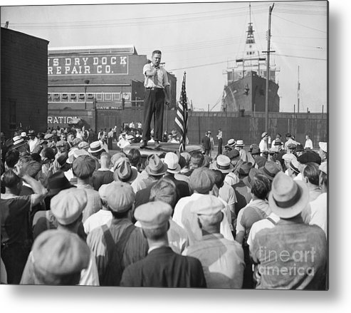 Employment And Labor Metal Print featuring the photograph Labor Organizer Addressing Open Meeting by Bettmann