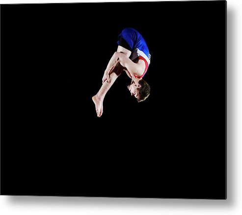 Focus Metal Print featuring the photograph Male Gymnast 16-17 Mid Air, Black by Thomas Barwick