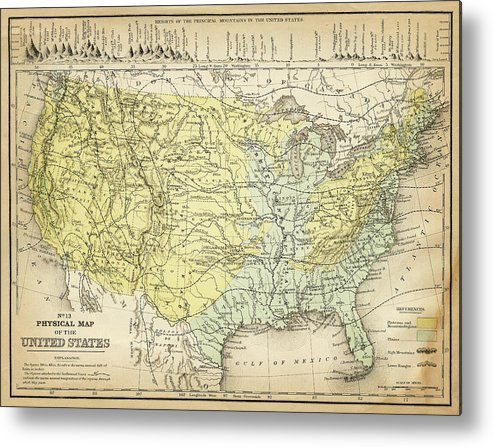 Burnt Metal Print featuring the digital art Map Of Usa 1867 by Thepalmer