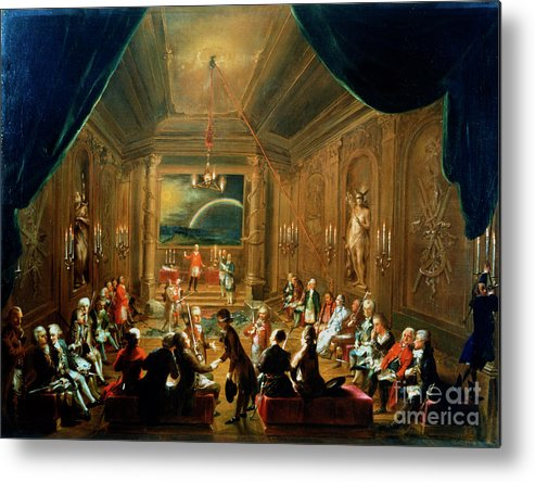 People Metal Print featuring the drawing Meeting Of The Masonic Lodge, Vienna by Print Collector