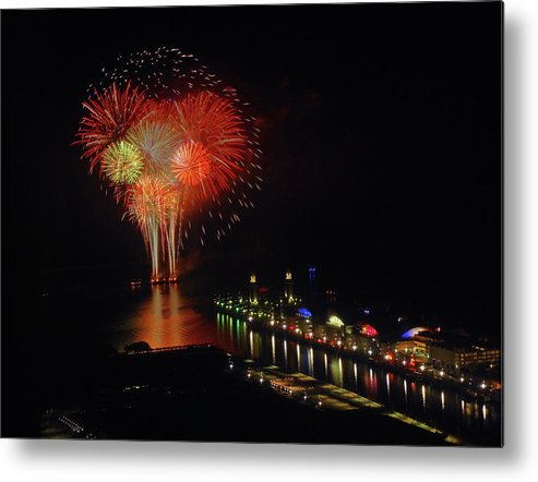 Firework Display Metal Print featuring the photograph Navy Pier Fireworks by Image By Douglas R. Siefken