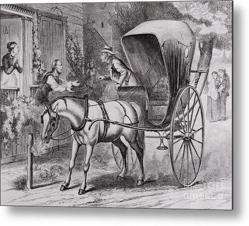 Art Metal Print featuring the photograph New Country Doctor Arriving In Town by Bettmann