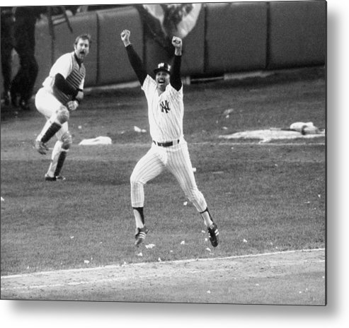 American League Baseball Metal Print featuring the photograph New York Yankees Chris Chambliss Jumps by New York Daily News Archive
