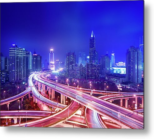 Blurred Motion Metal Print featuring the photograph Night View Of A Six-level Interchange by Xpacifica