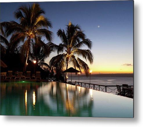 Swimming Pool Metal Print featuring the photograph Nightfall At Iririki Island, Vanuatu by Holgs