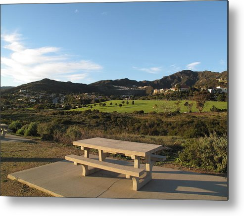 Tranquility Metal Print featuring the photograph Park Bench In Malibu by Marianna Sulic