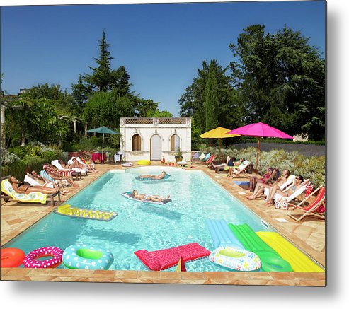 Young Men Metal Print featuring the photograph People Enjoying Summer Around The Pool by Ghislain & Marie David De Lossy