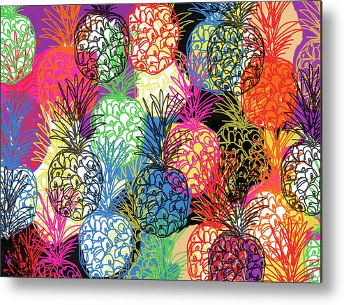 Pineapple Metal Print featuring the mixed media Pineapple Party- Art by Linda Woods by Linda Woods