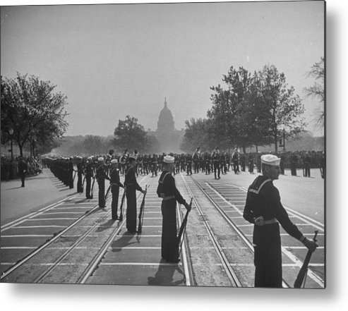 Timeincown Metal Print featuring the photograph Sailors Lining Constitution Avenue For by Alfred Eisenstaedt