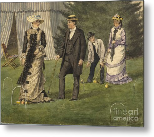 Painted Image Metal Print featuring the drawing The Croquet Game by Heritage Images