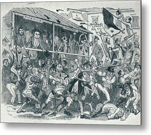 Engraving Metal Print featuring the drawing The Election At Eatanswill, C1836, 1925 by Print Collector
