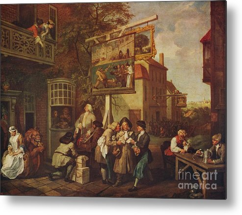 Oil Painting Metal Print featuring the drawing The Election Canvassing For Votes by Print Collector