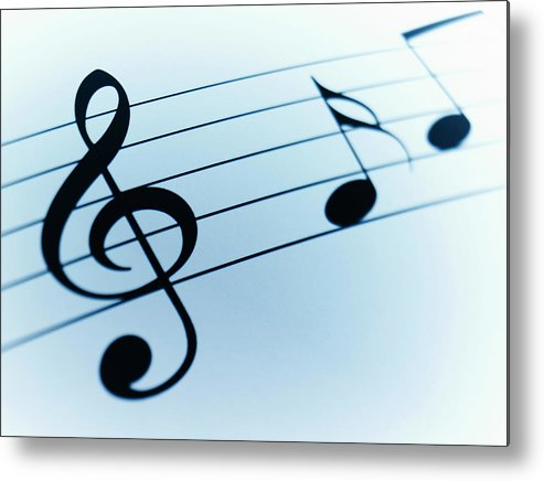 Sheet Music Metal Print featuring the photograph Treble Clef And Notes by Adam Gault