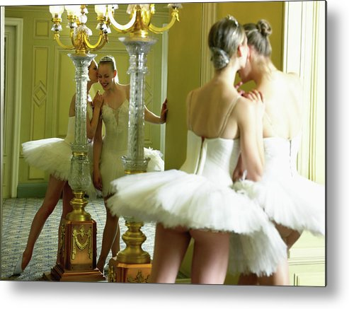 Ballet Dancer Metal Print featuring the photograph Two Teenage Ballet Dancers 13-15 In by Hans Neleman