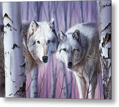 Two White Wolves Standing In Birches Wolf Metal Print featuring the painting White Wolves By Birch by Rusty Frentner