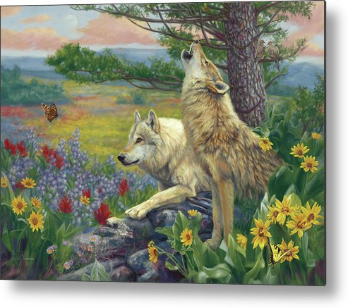 Wolf Metal Print featuring the painting Wolves in the Spring by Lucie Bilodeau