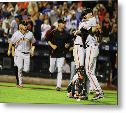 People Metal Print featuring the photograph Chris Heston And Buster Posey by Al Bello