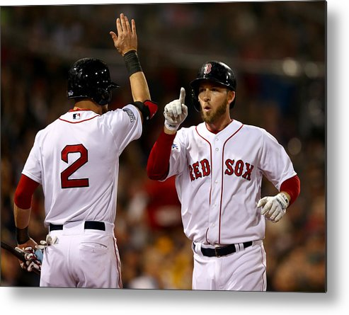 Playoffs Metal Print featuring the photograph Jacoby Ellsbury and Stephen Drew by Elsa