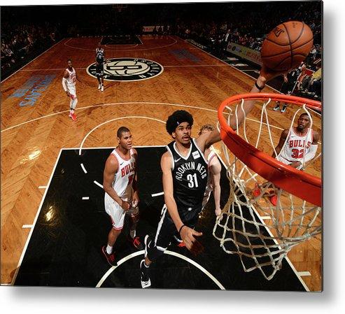 Nba Pro Basketball Metal Print featuring the photograph Jarrett Allen and Drazen Petrovic by Jesse D. Garrabrant