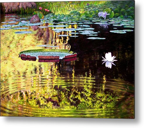 Garden Pond Metal Print featuring the painting Ripples On A Quiet Pond by John Lautermilch