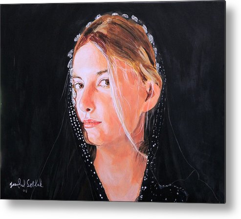 Portrait Of A Young Woman Metal Print featuring the painting White Clouds by Jean-Paul Setlak