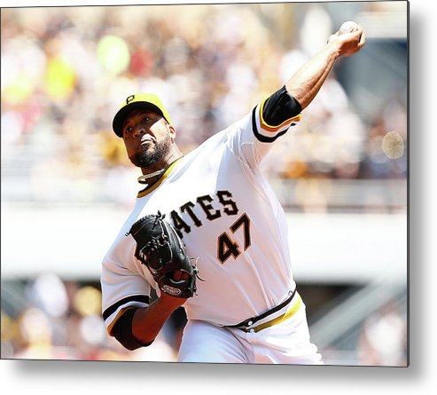 Three Quarter Length Metal Print featuring the photograph Francisco Liriano by Jared Wickerham