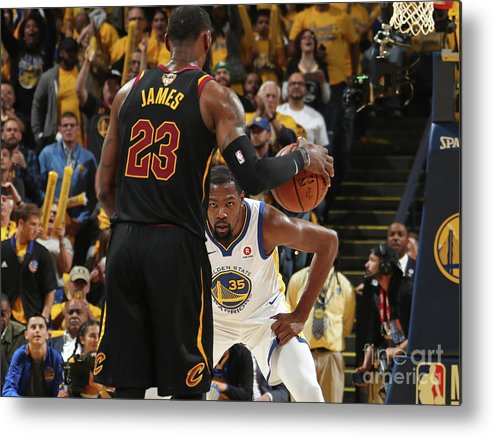 Playoffs Metal Print featuring the photograph Kevin Durant and Lebron James by Nathaniel S. Butler
