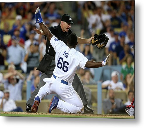 People Metal Print featuring the photograph Yasiel Puig by Stephen Dunn