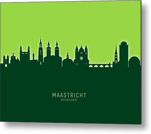 Maastricht Metal Print featuring the digital art Maastricht The Netherlands Skyline by Michael Tompsett