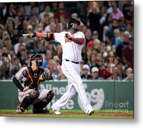 American League Baseball Metal Print featuring the photograph David Ortiz by Michael Ivins/boston Red Sox
