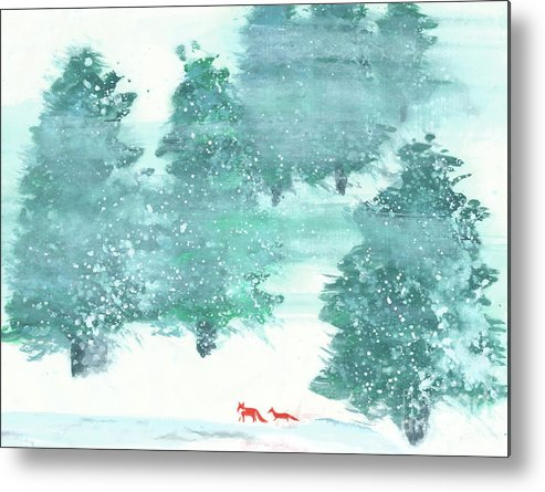 A Mother And Baby Fox Are Taking A Walk In The Wood. This Is A Simple Contemporary Chinese Brush Painting On Rice Paper. Metal Print featuring the painting A Walk in the Wood by Mui-Joo Wee