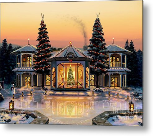 Christmas Metal Print featuring the painting A Warm Home For The Holidays by Stu Shepherd