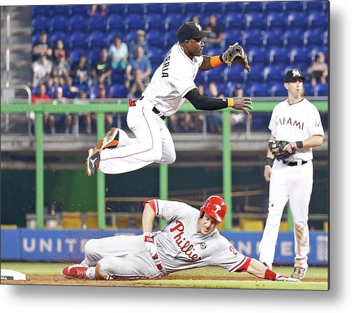 Double Play Metal Print featuring the photograph Adeiny Hechavarria and Chase Utley by Rob Foldy