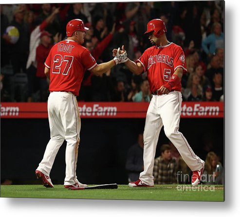 People Metal Print featuring the photograph Albert Pujols, Andrelton Simmons, and Mike Trout by Victor Decolongon