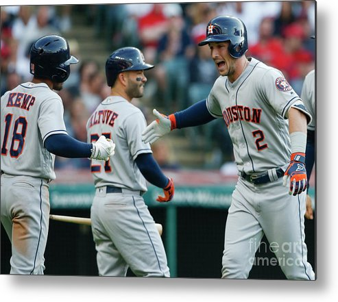 Alex Bregman Metal Print featuring the photograph Alex Bregman, Mike Clevinger, and Tony Kemp by Ron Schwane