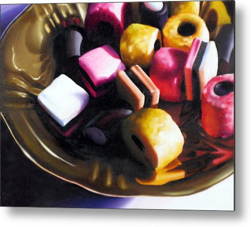 Allsorts Metal Print featuring the pastel Allsorts of Colour by Dianna Ponting