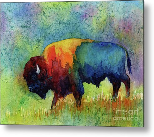 Bison Metal Print featuring the painting American Buffalo III by Hailey E Herrera