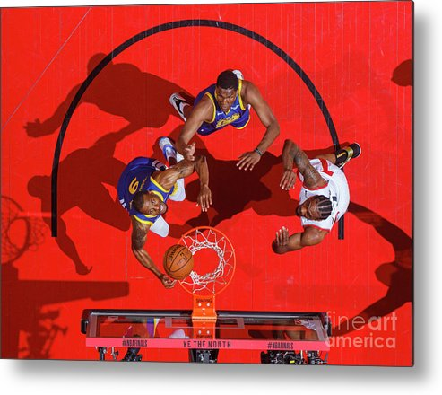 Playoffs Metal Print featuring the photograph Andre Iguodala, Kawhi Leonard, and Kevon Looney by Mark Blinch